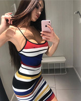 Wholesale colorful club dresses - Hot Strap Bodycon Sheath Dress Women Sleeveless Colorful Striped Mid Calf Dresses Sexy Backless Night Out Club Wears