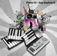 Wholesale roll up piano 61 keys - Portable 61 Keys Universal Flexible Roll Up Electronic Piano Soft Keyboard Piano MIDI Build in Speaker Electronic Piano KKA5179