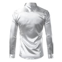 Wholesale shiny tuxedo men for sale - Group buy Polyester Silk Shirt Men Satin Smooth Men Solid Tuxedo Shirt Business Chemise Homme Casual Slim Fit Shiny Gold Wedding Dress Shirts