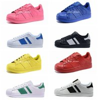 Wholesale Inkjet Pvc - 2018 Superstar rainbow inkjet running Sneakers Men Women designer Casual black gold shoes superstars chaussures zapatillas