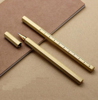 Wholesale art rulers for sale - Group buy handmade pure color Ruler hexagonal brass signature Pens metal gel pen creative gifts with extra cloth bag Free engraving