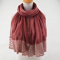 ingrosso big lace scarf-Big fashion hot 2018, scialli di cotone liscio, foulard in poliestere tie-dye, foulard di paillette in pizzo, copricapo, hijab in pizzo musulmano, hijab glitterato