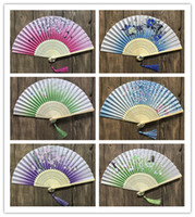 Wholesale chinese folk arts - New 100pcs Chinese Japanese Folding Fan Sakura Cherry Blossom Pocket Hand Fan Summer Art Craft Gift