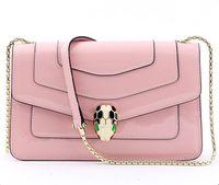 inek deri çanta deseni toptan satış-Yüksek Kalite Tasarım Moda Lüks Deri Kadın Minor Çanta Desen Inek Deri Omuz Çantası Tasarım Üst SERPENTI Kadınlar Çanta Yılan Başkanı