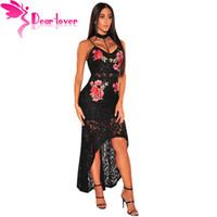 ingrosso cari abiti amorosi-Dear Lover Women Maxi Dresses Summer Night Party Abiti Mujer Black Spaghetti Strap Floral Lace Choker Abito Low Low LC61667