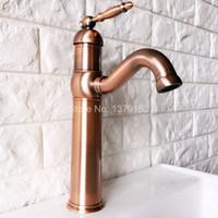 banyo armatürü döner ağızlı toptan satış-Döner Borulu Su Musluk Antika Kırmızı Bakır Tek Kolu Tek Delik Evye Banyo Bataryası Havzası Mikser Dokunun anf388