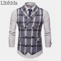 0415af35d6a Plaid Suit Vest Men Casual Double-breasted Big Size 4XL All-season Dress  Wedding Autumn Waistcoat Clothes Male Black Grey T187