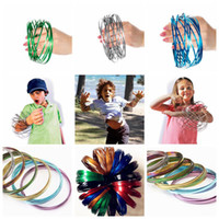 Wholesale colorful moving - Metal Toroflux Rainbow Colorful Flow Ring Toy 10 Colors Holographic by While Moving Creates a Ring Flow Kinetic Toys OOA4717