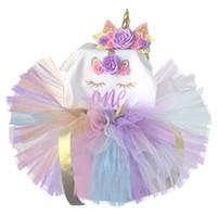 vestido de festa do bebê por ano venda por atacado-Vestido De Unicórnio Crianças Fantasia 1o Vestidos De Aniversário Para Meninas Vestidos De Festa Traje Da Princesa Do Bebê Um Ano Vestido De Roupas Meninas