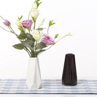 decoração moderna vaso branco venda por atacado-The Edges Corners Vases Vaso De Mesa Em Cerâmica Branca Preta Decoração de Casa vaso de Moda Moderna vasos