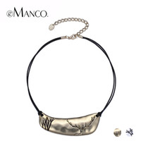 Wholesale Deer Choker - whole saleeManco 2 Color Classic Simple Cameo Layers Choker Necklaces & Pendants Women Black Rope Deer Pattern Metal Gold-Color Jewelry