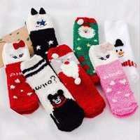 Wholesale Winter cute Cartoon D animal elk christmas funny socks women Coral fleece warm socks style Kawaii Socks NO gift box