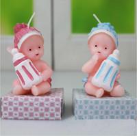 bebek doğum günü mumları toptan satış-Bebek Doğum Günü Mumlar Bebek Süt Şişesi Şekli Zanaat Mumlar Hobbyhorse mum Parti Dekorasyon Hediye Düğün Doğum Günü Partisi Malzemeleri