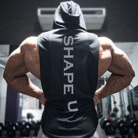 sudadera con capucha de la camiseta al por mayor-Men's Muscle Fitness Hoodies Tank Tops Hombre sin mangas Casual Gymnasium Active Workout Hooded T-Shirts Chalecos Pullovers