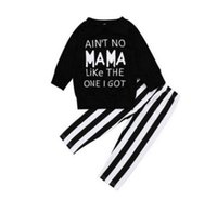 Wholesale childrens clothes for sale - 2018 Girls Baby Childrens Clothing Set Letters Black tshirts Striped Pants Set Spring Autumn Tshirts Boutique Enfant Clothes Outfits