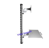 soporte de pared de aluminio al por mayor-WS06 Gas Spring Aluminium Full Motion Single Dual Screen Wall Mount Workstation PS Stand Monitor titular con teclado