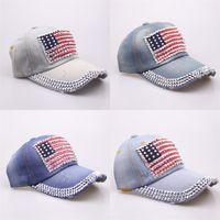 amerikan bayrağı snapback şapka toptan satış-Amerikan Bayrağı Rhinestone Denim Beyzbol Şapkası Erkekler Kadınlar Için Snapback Popüler Casquette Marka Tasarımcı Parlak Gömme Spor Şapkalar 77bc ZZ