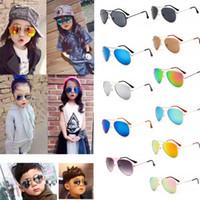 bebek kızı moda gözlükleri toptan satış-11 renkler Çocuk Kız Erkek Güneş Gözlüğü Çocuklar Plaj Renkli film güneş gözlüğü UV Koruyucu Gözlük Bebek Moda Şemsiyeleri Gözlük GGA406 60 ADET