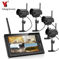 hd wasserdichtes sicherheitssystem großhandel-Yobang Sicherheit Wireless Videoüberwachungssystem 7 Zoll bildschirm Monitor 4 stücke HD Netzwerk DVR Home Security Wasserdichte IP-Kamera