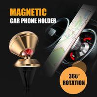 iphone luftentlüftung großhandel-Universal Aluminiumlegierung Air Vent Magnetic Car Mount Handyhalter für iPhone und Android Smartphones Autotelefonhalter