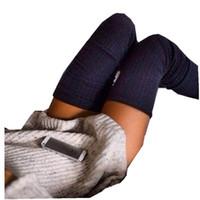 sobre joelho botas longas mulheres venda por atacado-Hirigin alta quility Womens Inverno Macio Cabo contínuo de Malha Sobre O Joelho Longo Bota Coxa-Alta Meias Quentes socking feminino