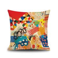 abstraktes sofa großhandel-Moderne abstrakte Ölgemälde Kissenbezug 3D Digitaldruck Verbund Leinen Kissenbezüge Car Sofa Kissenbezug