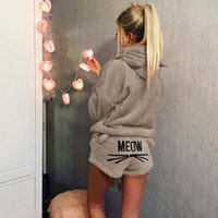 Wholesale white cat suits for sale – halloween Cute Cat Meow Embroidery Womens Sweet Pajamas Suit Long Sleeve Hooded Tops and Shorts Female House Clothing