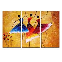 pintura a óleo paisagem castelo venda por atacado-3 Panles Abstrato Pinturas a Óleo de Dança Espanhola Impresso em Tela com-De Madeira-Arte Emoldurado Pintura Para Casa Moderna Deco