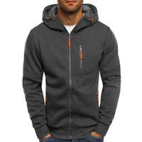 фирменный стиль hoody оптовых-Hoodies Men 2018 Fashion Hoodies  Men Personality Zipper Sweatshirt Male Hoody Tracksuit Hip Hop Autumn Winter Hoodie Mens