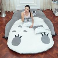 totoro bed achat en gros de-4 Taille Grand Totoro Simple Et Double Lit Géant Totoro Lit Coussin De Matelas En Peluche Matelas Pad Tatami Coussin Pouf