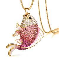 collar colgante de peces de colores al por mayor-Nueva marca de peces de cristal Goldfish esmalte Rhinestone collares largos colgantes para las mujeres del partido del encanto de regalo