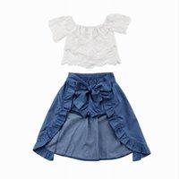 off beyaz kız elbiseleri toptan satış-Perakende 3 ADET Sevimli Toddler Kız Setleri Kapalı Omuz Dantel Beyaz T-Shirt Mavi Denim Şort Ayak Bileği-Uzunluk Elbise Kıyafetler Tops 1-5 T MN001