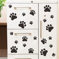 Wholesale Kitchen Cabinets Stickers - funny Dog Cat Paw Print poster for kids room home decal Wall Stickers DIY cabinet door Food Dish Kitchen Bowl Car sticker decor