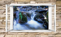 Wholesale windows live tv for sale - Wallpaper d Mural For Living Room Beautiful waterfall flowing through the window D stereoscopic TV background wall D Wall Mural Wallpap