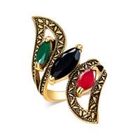 богемские кольца из драгоценных камней оптовых-Древнее золотое кольцо Богемский трихроматический драгоценный камень позолоченный спиральный лист кольцо
