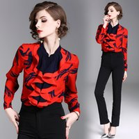 Wholesale work shirts xxl - Female Spring New Arrive Brand Top Stand Collar Long Sleeve Shirt Women Red Printing Work Clothes plus size S M L XL XXL