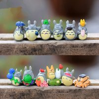 Wholesale toy gardens online - 12 Set My Neighbor Totoro Mini Figure DIY Moss Micro Landscape Toys New garden miniatures decoration Garden Decorations T2I118