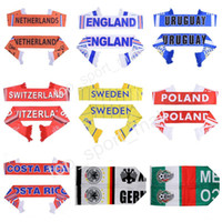 Wholesale flags cup - 2018 World Cup Soccer Scarf Netherlands England Uruguay Sweden Switzerland Poland Croatia Germany Football Scarves Fans Accessorie Flag Gift