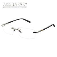 titan randlose rahmen rezept brillen großhandel-Männer Brillen Rahmen Optische Randlose Titanlegierung Metall Brillen Mode Marke Designer Verschreibungspflichtigen Brillen Brille Klassisch