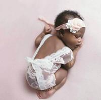Wholesale vintage newborn photography props resale online - Newborn Lace Romper Photography Prop Open Back Romper Vintage baby summer clothes colours no headware