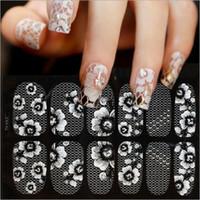 Wholesale lace nail decals - 12 long wear wraps White Lace Serial Transparent Nail Decals Stickers Nail Foils Fake Nail Tips False Decoration No Smudging DIY 50PCS