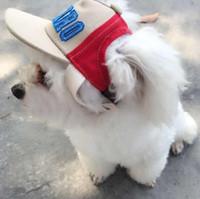 Wholesale dog hat large resale online - Adjustable Dog Pet Cap Visor Summer Pet Dog Hat Cute Accessories For Small Dogs Canvas Baseball Cap Outdoor Ball Cap CCA10136
