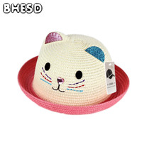 Wholesale baby boy brim hats - BHESD 2017 Brand baby Sun hat cap summer children cat ears decoration beach hat girls boy pink sun straw Bones chapeauJY-433