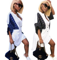 Wholesale striped formal blouse women - 2018 new women Casual Shirts Tops Cotton Formal Blouse Clothing Fashion stripes stitching Shirt dress Loose cardigan dress