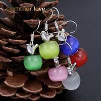 Wholesale pink earrings for girls - 2018 Fashion 6 Colors Newest Lovely Pink Cyan Opal Apple Crystal Earrings For Women Girls Silver Fashion Jewelry Earing Brincos Dropshiping