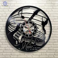 círculos de arte de la pared al por mayor-Relojes de pared Guitarra Instrumento musical Arte Regalo Círculo Vinilo Reloj de pared Diseño de interiores Sala de estar para niños Decoración para el hogar
