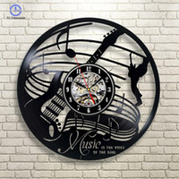 дизайн музыкального искусства оптовых-Wall Clocks Guitar Music Instrument Art Gift Circle  Wall Clock Interior Design Childrens Living Room Home Decor
