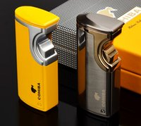 электроника газовая зажигалка оптовых-COHIBA Jet Lighter Cigarette Gas Lighters 3 Torch Flame Lighter Windproof Metal USB Charging Electronic Lighter With Gift Box
