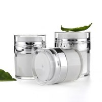 Wholesale wholesale airless jars - 15 30 50G Pearl White Acrylic Airless Jar Cream Jar With Silver Collar 15 30 50ML Cosmetic Vacuum Lotion Jar Pump Bottle