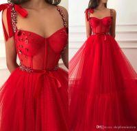 plus größe lange kristalle prom kleid großhandel-Prinzessin Red Crystals Günstige Lange Prom Kleider 2019 Eine Linie Plus Size Tüll Günstige Samt Arabisch Afrikanische Mädchen Festzug Formale Abend Party Kleid